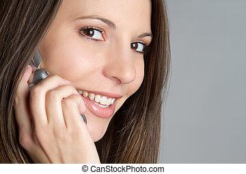 het glimlachen, telefoon, meisje