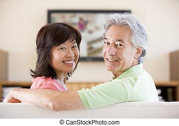 het glimlachen, televisie, paar, schouwend
