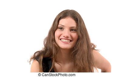 het glimlachen, tiener, vrolijke