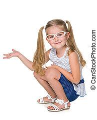 het glimlachen van weinig meisje, bril