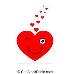 het glimlachen, vector, heart., rood, illustratie
