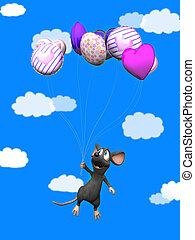 het glimlachen, vliegen, muis, balloons., spotprent