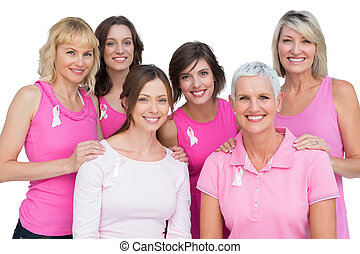 het glimlachen, vrouwen, het poseren, en, vervelend, roze, voor, weersta aan kanker