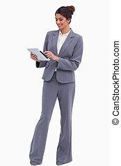 het glimlachen, vrouwlijk, ondernemer, doorwerken, haar, tablet, computer