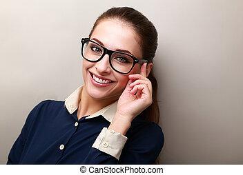 het glimlachen, zakenmens , in, bril, het kijken, vrolijke