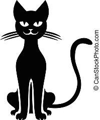 het glimlachen, zwarte kat