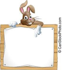het gluren, konijntje, meldingsbord, pasen, op, wijzende, konijn