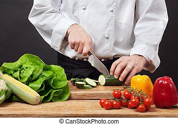 het hakken, groentes