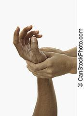 het helen, beroeren, van, een, masseus's, handen