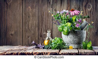 het helen, keukenkruiden, en, essentiële olie, in, fles, met, vijzel, -, homeopathie, en, alternatieve geneeskunde