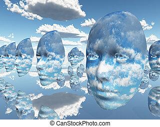het herhalen, wolken, gezichten