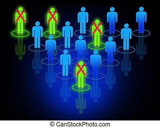het herstructureren, proces, binnen, organisatie, of, bedrijf, met, interconnected, menselijk, gevormd, silhouettes