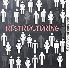 het herstructureren, proces, binnen, organisatie, of, bedrijf