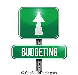 het in de begroting opnemen, ontwerp, illustratie, meldingsbord