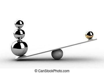 het in evenwicht brengen, gelul, op, wooden board