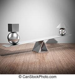 het in evenwicht brengen, staal, figuren