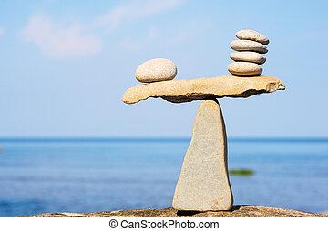 het in evenwicht brengen, van, steentjes