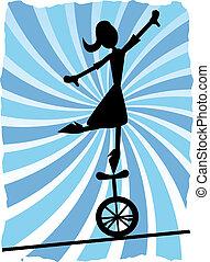 het in evenwicht brengen, vrouw, silhouette, un