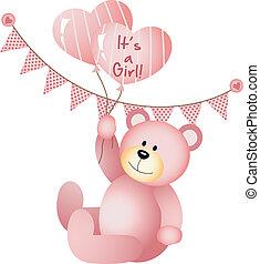 het is, meisje, beer, teddy