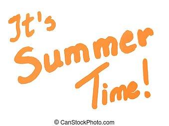 het is, zomertijd, sinaasappel, kalligrafie