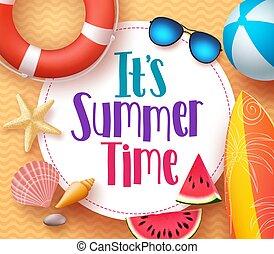 het is, zomertijd, vector, spandoek, ontwerp, mal, met, kleurrijke, strand, communie