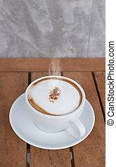 het kaffe, kopp, på, ved, bakgrund