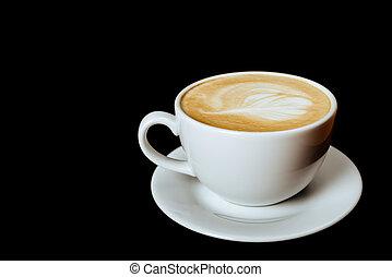 het kaffe, på, svart, bakgrund.