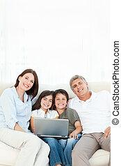 het kijken, fototoestel, mooi, gezin