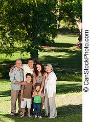 het kijken, fototoestel, park, gezin