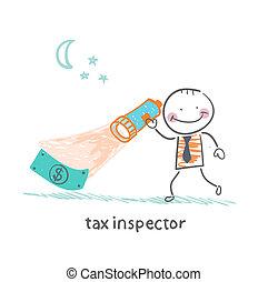 het kijken, geld, inspecteur, belasting, lantaarntje