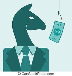 het kijken, geld, paarde, kostuum, haak