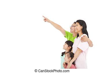 het kijken, gezin, wijzende, vrolijke