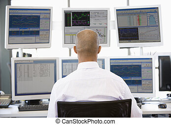 het kijken, handelaar, veelvoudig, monitors, liggen
