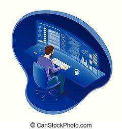 het kijken, isometric, of, ontwikkelen, aan het werk werkkring, feitelijk, bedrijf, grafieken, index, schermen, computer, handel, getallen, zakenman, veelvoudig, programmeur, software, handelaar, stocks., liggen