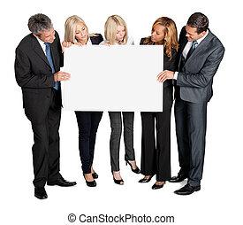het kijken, leeg, plank, zakenlui