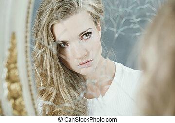 het kijken, meisje, mooi, spiegel