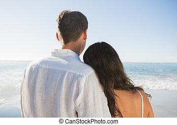 het kijken, paar, vredig, oceaan