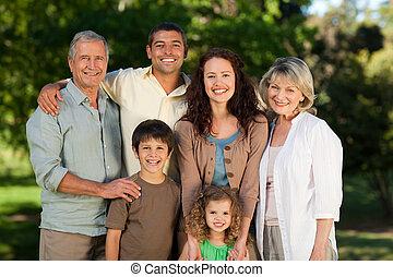 het kijken, park, gezin, fototoestel