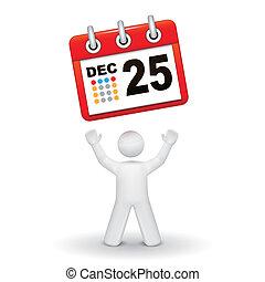 het kijken, persoon, kalender, op, 3d