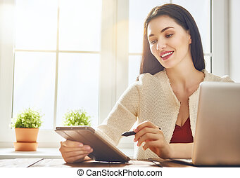 het kijken, scherm, vrouw, draagbare computer