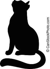 het kijken, silhouette, op, kat