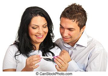het kijken, test, paar, zwangerschap, vrolijke