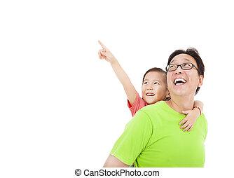 het kijken, vader, dochter, wijzende, vrolijke