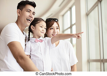 het kijken, venster, door, gezin, vrolijke