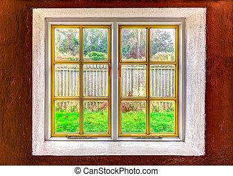 het kijken, venster, door, uit
