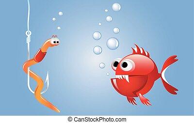 het kijken, visje, spotprent, kwaad, rood