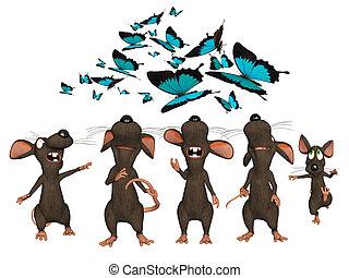 het kijken, vlinder, muizen, 3d, spotprent, omhoog