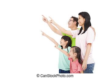 het kijken, vrolijke , wijzende, gezin, aziaat