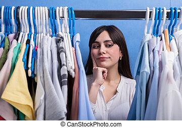 het kijken, vrouw, bevestigingslijst, kleren
