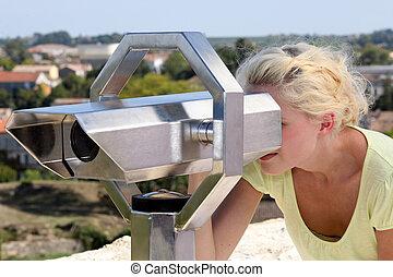 het kijken, vrouw, door, telescoop